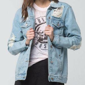 Boom Boom Jeans   Distressed Mesh/Jean Jacket